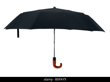 Black open gentleman umbrella with wooden hook handle isolated on white background Side view - Stock Photo