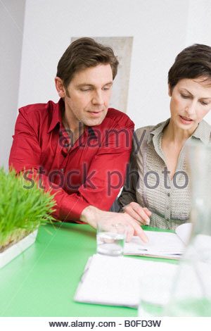 Man and woman discussing some paper - Stock Photo