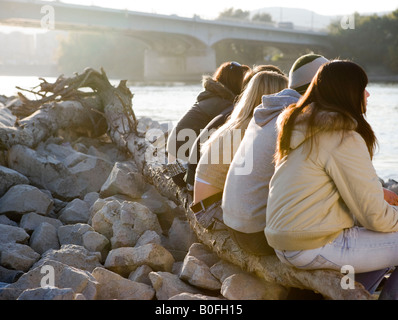 Group of friends sitting on tree - Stock Photo
