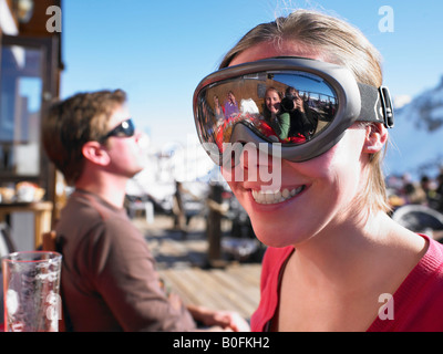 Young woman in goggles - Stock Photo