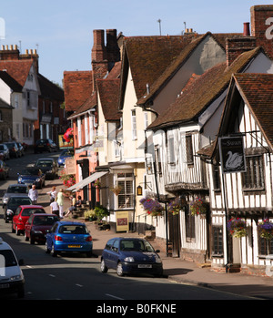 Lavenham Suffolk View up the High Street with Swan Hotel in the foreground - Stock Photo