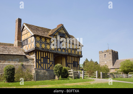 Stokesay Castle 13th century fortified manor house with 17th century Jacobean gatehouse Craven Arms Shropshire West - Stock Photo