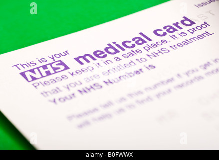 UK NHS Number Medical Card - Stock Photo