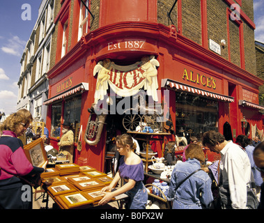 Portobello Road antique shop at Notting Hill Gate in London England - Stock Photo