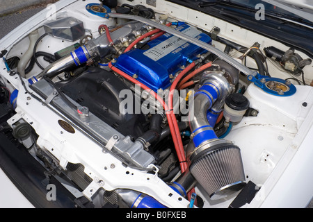 modified turbocharged Nissan SR20DET engine - Stock Photo
