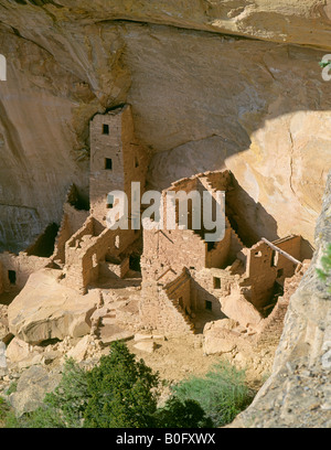 A view of Square Tower House a principal Anasazi cliff dwelling in a canyon in Mesa Verde - Stock Photo