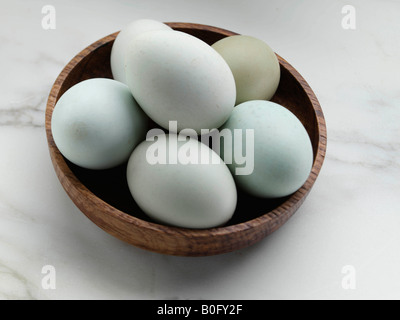 A bowl of blue free range eggs editorial food - Stock Photo