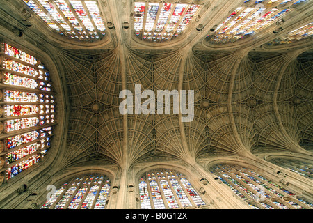 The ceiling, Kings College Chapel, Cambridge England - Stock Photo