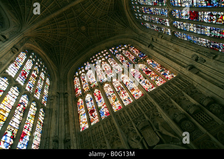 The stained glass windows, Kings College Chapel, Cambridge England - Stock Photo