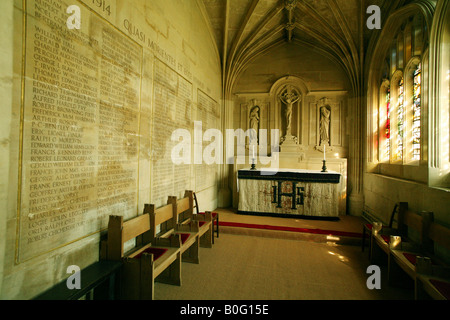 Small side-chapel in Kings College Chapel, Cambridge, dedicated to the memory of those who died in the First World - Stock Photo