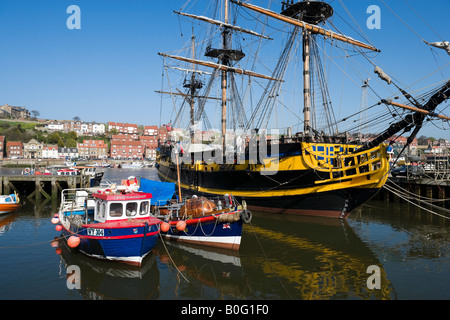 Boats in the harbour at Whitby, East Coast, North Yorkshire, England, United Kingdom - Stock Photo