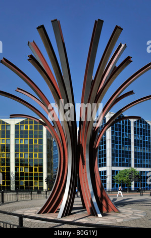 Stratford East London public art sculpture in town center road junction modern office building beyond - Stock Photo