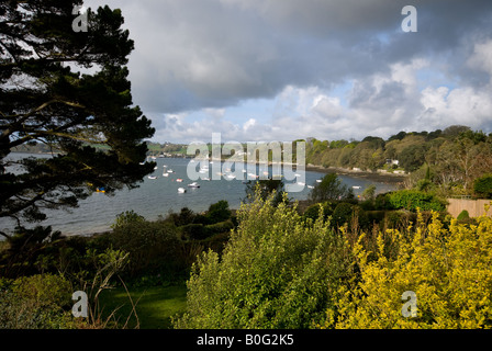 View of Carrick Roads from Feock, near Truro, Cornwall, England, UK - Stock Photo