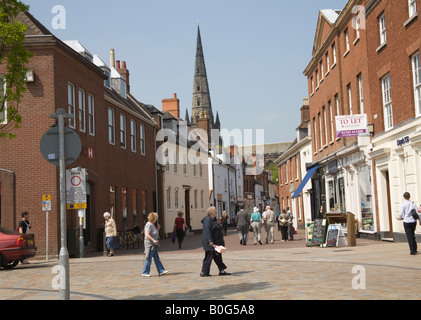 Lichfield Staffordshire UK View down the pedestrianised Dam Street towards the impressive Cathedral - Stock Photo