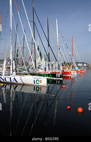 Racing yachts moored in Plymouth, UK, before the start of the 2008 Transat transatlantic race - Stock Photo