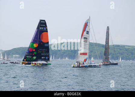 Racing yachts prepare for the start of the 2008 Transat race in Plymouth, UK - Stock Photo