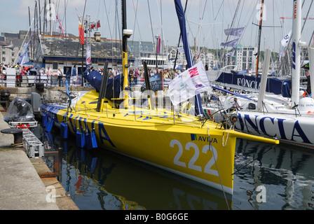 Imoca 60 class racing yacht Aviva moored in Plymouth before the 2008 Transat transatlantic race - Stock Photo
