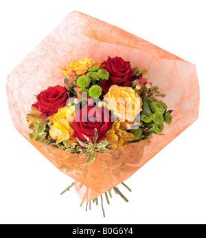 Bunch of Roses, Peruvian Lily (Alstroemeria), Hypericum and Chrysanthemum. - Stock Photo