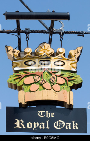 The 'Royal Oak'Pub sign in Chesterfield in Derbyshire 'Great Britain' - Stock Photo