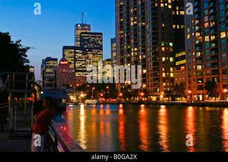 Toronto downtown view at night from Lake Ontario harborfront