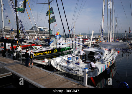 Racing yachts moored in Plymouth, UK, before the start of the Transat 2008 transatlantic race - Stock Photo