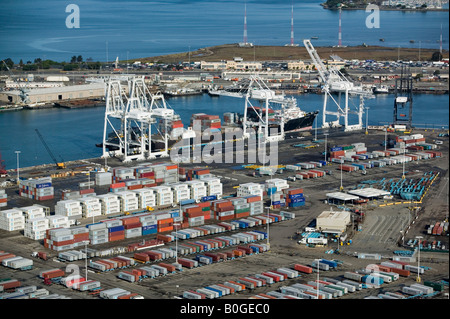 aerial container ship being loaded at Port of Oakland, California - Stock Photo