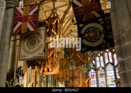 Battle Honours laid up in Canterbury Cathedral Canterbury Kent England Great Britain - Stock Photo