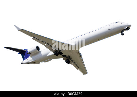 Passanger airplane over white background - Stock Photo