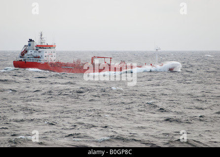 Betty Theresa product and chemical tanker on gray wintery Baltic sea - Stock Photo