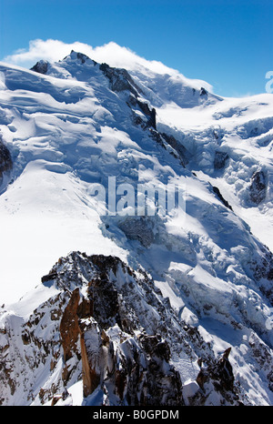 Cosmiques arete, Mont Blanc du Tacul, Mont Maudit and summit of Mont Blanc as seen from Aiguille du Midi, Chamonix, - Stock Photo