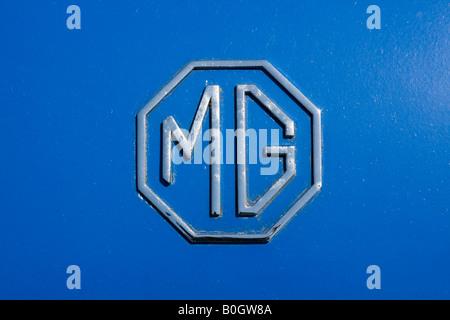 MG Motor car emblem on radiator grill Chrome - Stock Photo
