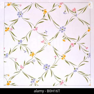 'Flowery trellis' an original design by Frank Kean (Dip Art.) - Stock Photo