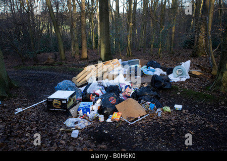 Illegally dumped house garbage in a woodland forest outside Medmenham in Buckinghamshire, England. - Stock Photo