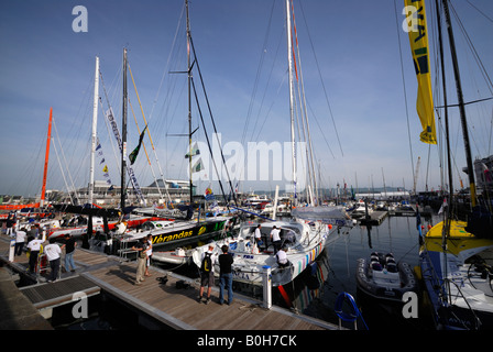 Racing yachts moored in Sutton Harbour, Plymouth, UK, before the 2008 Transat transatlantic race - Stock Photo