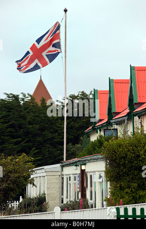 British Union Jack flag flying in Port Stanley in the Falkland Islands - Stock Photo