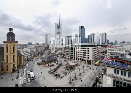 Panoramic view of Frankfurt´s centre and the bank towers, skyscrapers, Frankfurt, Hesse, Germany - Stock Photo