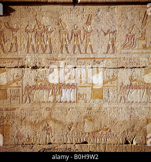 Hieroglyphs, relief depicting Egyptian gods, Luxor, Thebes, Egypt - Stock Photo