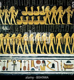 Hieroglyphs, grave relief, mural art depicting Egyptian gods, Luxor, Thebes, Egypt - Stock Photo