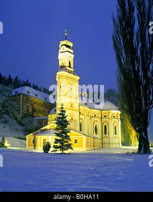 Karlskirche Church near Volder in winter, Innsbruck-Land, Inn valley, Tyrol, Austria - Stock Photo