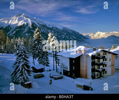 View from Moesern onto Mt. Hocheder in wintertime, Inntal, Inn Valley, Stubai Alps, Sellrainer Mountains, Tyrol, - Stock Photo