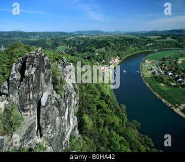 Elbe Sandstone Mountains, bastion, view of Rathen, Oberrathen district, Elbe River, Saxon Switzerland, Saxony, Germany - Stock Photo
