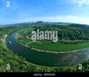 Elbe Sandstone Mountains, bastion, view of Rathen, Oberrathen district, Elbe River, Saxon Switzerland, Saxony, Germany - Stock Photo