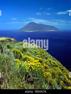Salina Island viewed from Lipari Island, Aeolian Islands, Sicily, Italy - Stock Photo