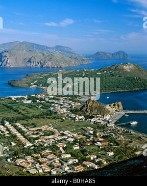 Vulcano, Porto di Levante, view of Vulcanello, aerial view, Lipari Island at back, Aeolian Islands, Sicily, Italy - Stock Photo