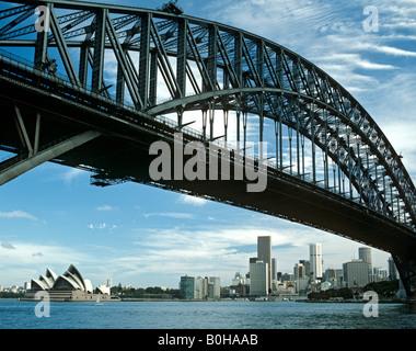 Harbour Bridge, Opera House, Sydney, New South Wales, Australia - Stock Photo