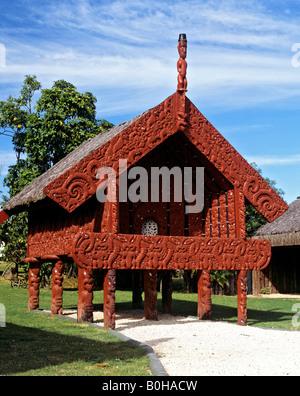Elaborate Maori wood carvings in Whakarewarewa, Rotorua, North Island, New Zealand - Stock Photo