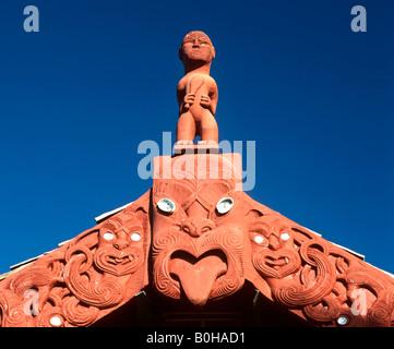 Maori wood carvings, Rotorua, North Island, New Zealand - Stock Photo