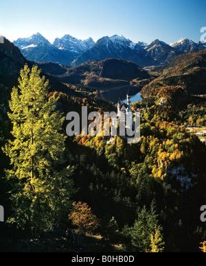 Neuschwanstein Castle, panoramic view in autumn, Alpsee, Allgaeu Alps, Allgaeu, Bavaria, Germany - Stock Photo