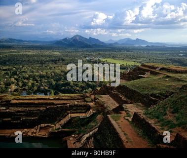 Sigiriya, panoramic view from platform, monolith, Lion's Rock, rock fortress, UNESCO World Heritage Site, Sri Lanka - Stock Photo