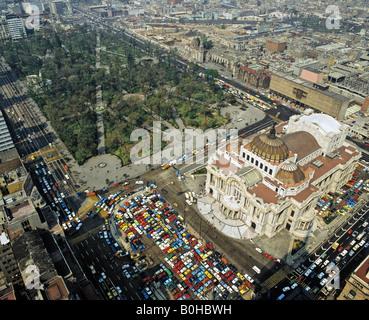 Aerial picture of the Palacio de las Bellas Artes, palace of fine arts in Mexico City, Mexico, Central America - Stock Photo